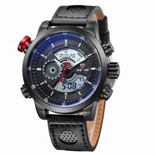 Con estilo moda Casual deportes impermeable 30 M buceo WEIDE hombres del cuarzo de cuero genuino Diver reloj Relogio Masculino