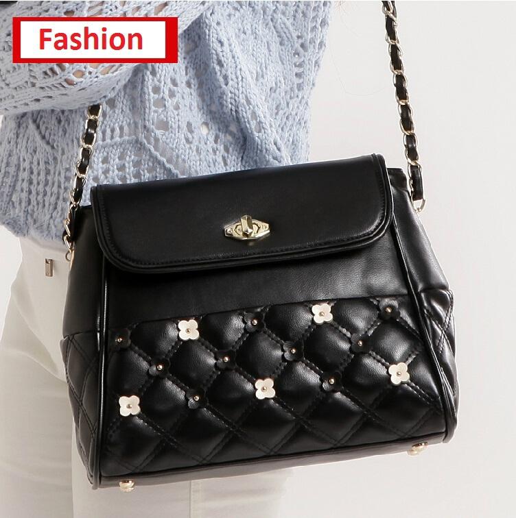 womens bags soft leather plaid rivet bag handbags crossbody bags for women fashion black evening bag(China (Mainland))