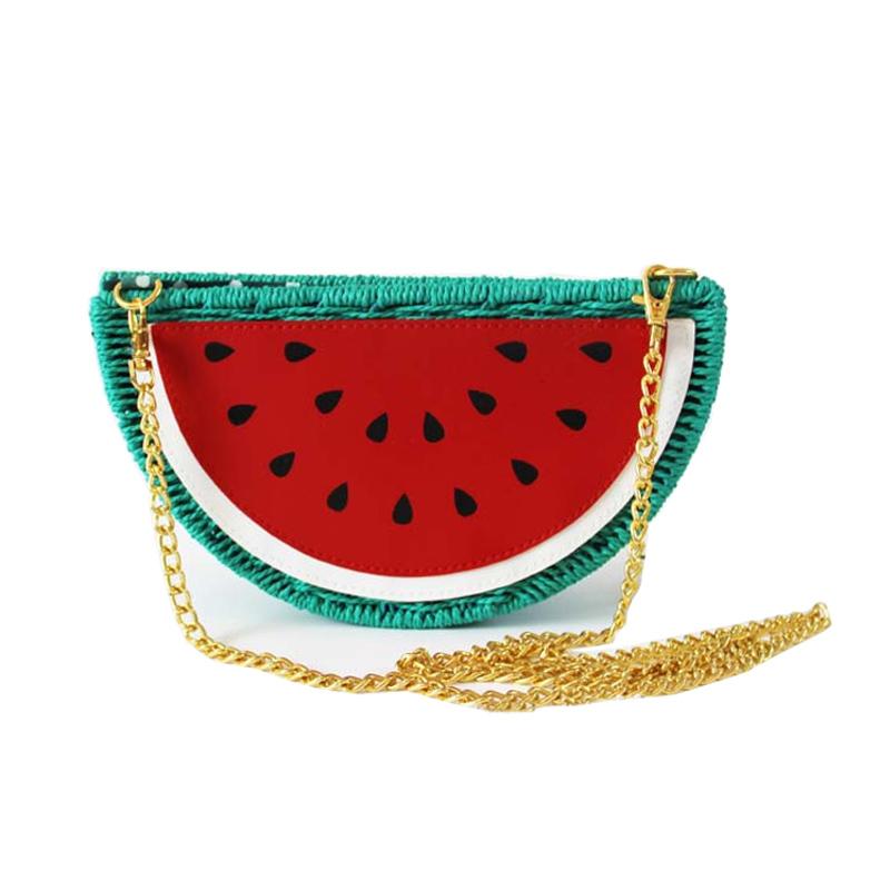 2015 New Summer Style Fresh Watermelon Straw Bag Casual Beach Bag Purses and Handbags Crossbody Bags For Women(China (Mainland))