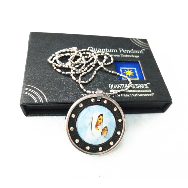 Goddess Maria Pendant Health Energy Pendant Lava Quantum 3000CC Ions Scalar Charms With 316L Stainless Steel Necklace Pendants(China (Mainland))