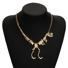 2016 New Steampunk Dinosaur Skeleton Dead Rex Dragon Charm Statement Necklace Choker Maxi Necklace For Women Jewelry Collares(China (Mainland))