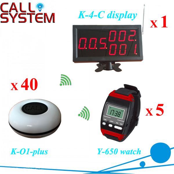 Catering Equipment Digital wireless service paging system (1 monitor 5 watch pager 50 table bell)(China (Mainland))