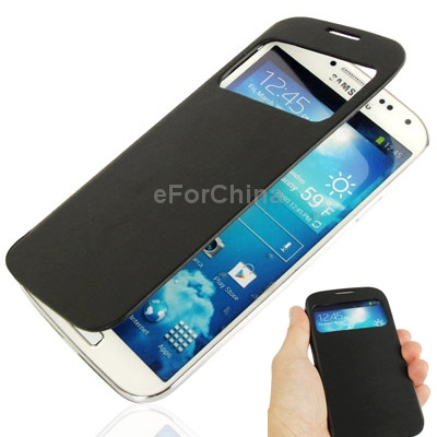 Call Display Flip Leather Case Plastic Replacement Battery Cover for Samsung Galaxy S4 i9500 (Black)<br><br>Aliexpress