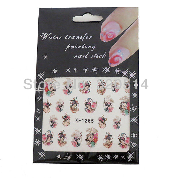 Special Offer 20sheets/lot Nails Art Wrap Water Transfers Stickers Decals Oriental Floral Geisha Girls FingerNails Free Shipping