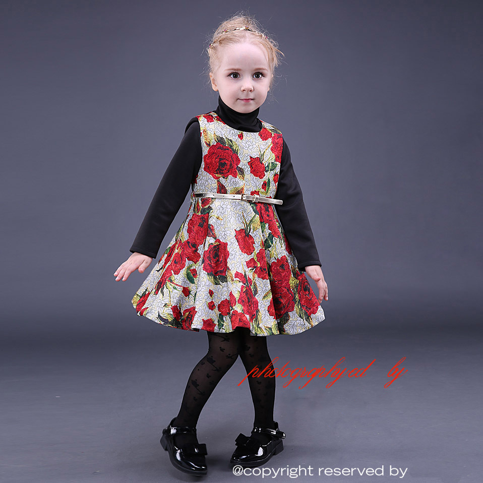 Buy christmas girls dresses for party and wedding rose print gold belt