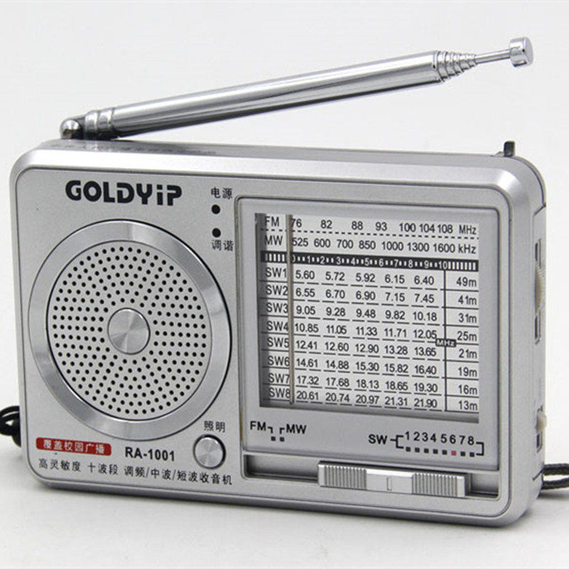 Goldyip / elderly full band portable Frequency Modulation Radio FM SW MW Digital World Receiver & External Antenna Radios(China (Mainland))