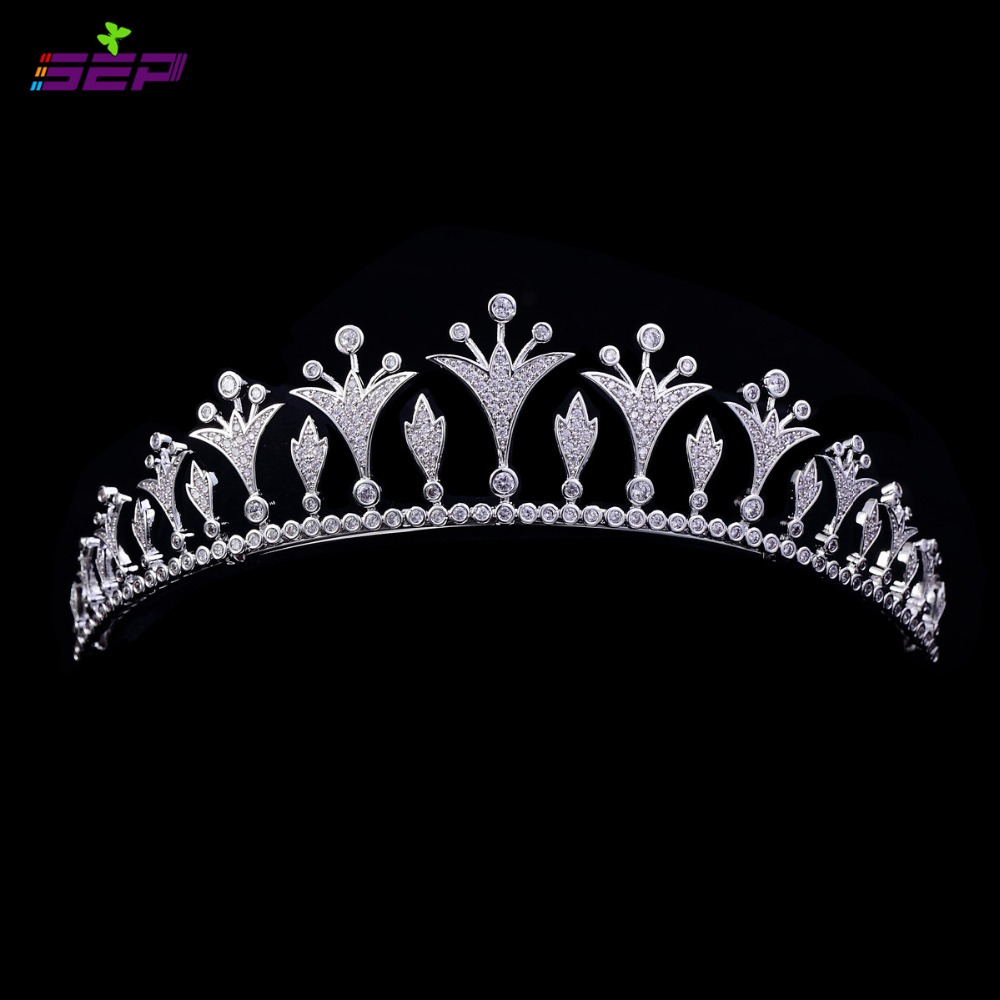 Bridal Wedding Tiara Crystals Crown Micro Pave Full AAA CZ Prom Tiara Pageant Hair Jewelry Accessories TR15046(China (Mainland))