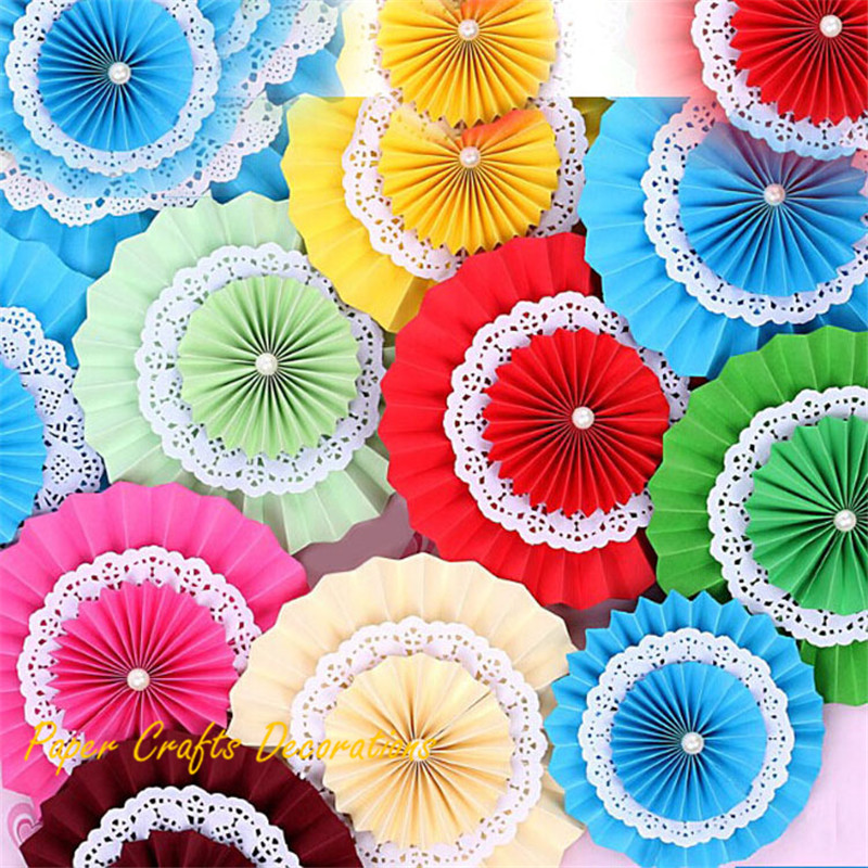 16 inch (40cm) 10pcs/lot Birthday Party Decorations Folding Paper Flower Fans Lantern Lace Double Layers Background Decor(China (Mainland))