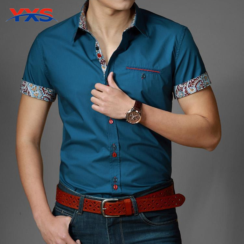 YXS01 NEW 2015 Summer New Arrival Men'S Clothing Hot-Selling Short-Sleeve Shirt Casual Slim Fit Stylish Men's Dress Shirts(China (Mainland))