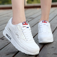 Wholesale Air Cushion Fashion Casual Shoes Women Spring Autumn Wedges Shoe Breathable Weight Losing Rubber Soles Lace Up Shoe
