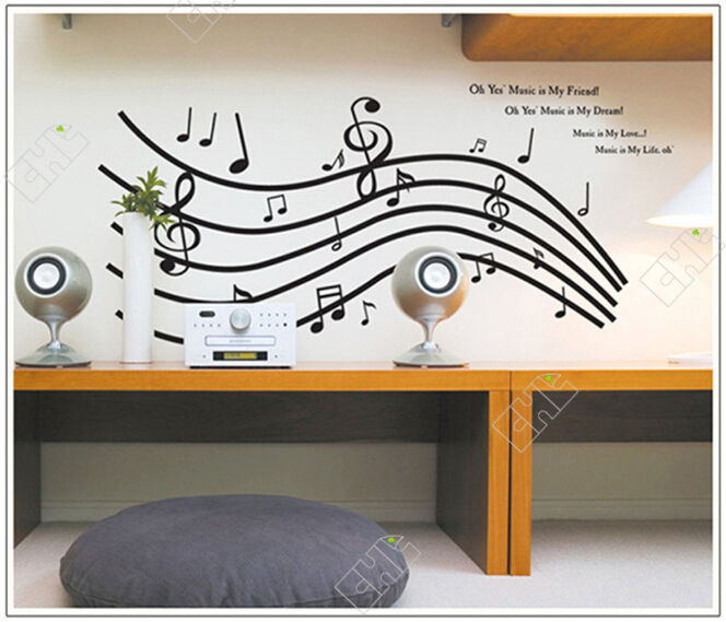 Hot sale Staff Music notes. Wall Sticker Creative Floral Stickers Decorative Mural Child Rooms Stiker DIY Wall Decals(China (Mainland))