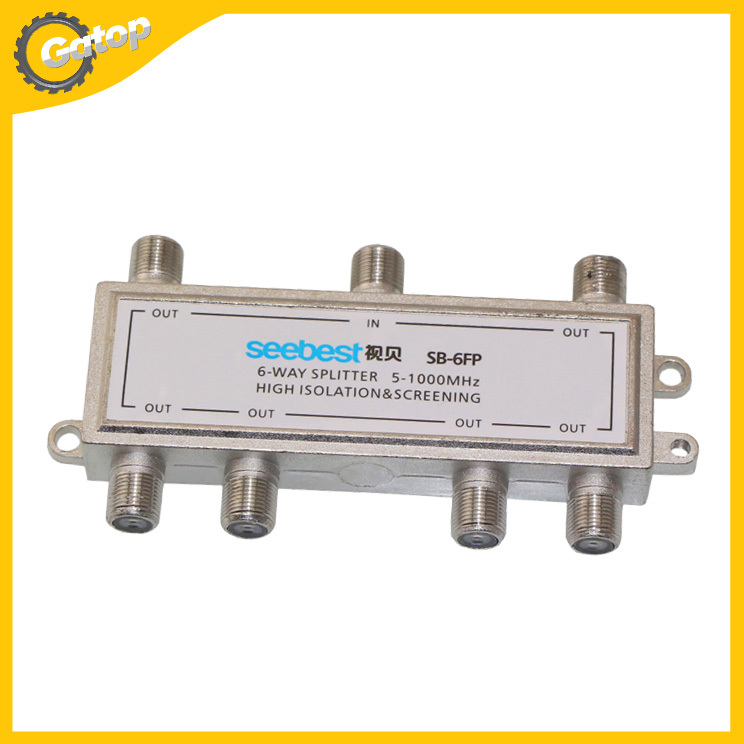1 in 6 out 6 Way Cable TV Splitter Catv Coaxial HDTV HD Satellite(China (Mainland))