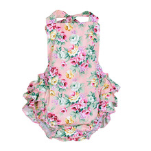 2016 Baby Girl Ruffles Romper Jumpsuit Sleeveless Cotton Floral Baby Girl Clothes Set Infant Newborn Summer Clothing Body Suit