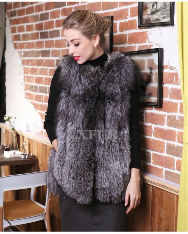 Super Pretty Womens Genuine Fox Fur Vest Graceful Winter Whole-Hide Fox Fur Sleeveless Outwear Import Fur Overcoat LX00132Одежда и ак�е��уары<br><br><br>Aliexpress