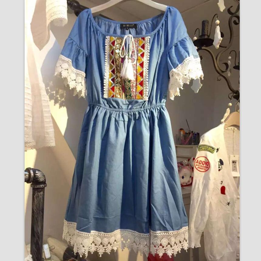 New Woman Dresses 2016 Summer Denim Dress Folk Style Short Sleeved Retro Embroidery Jeans Dress Robe Ete Vetement Femme 72695(China (Mainland))