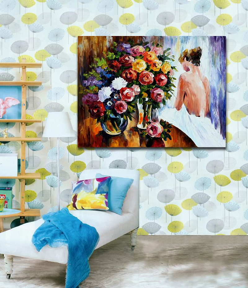 Modern 100% Handpainted Nude Girl and Rose Bouquet Canvas Paintings Unique Wall Art For Home Office Decoration(Hong Kong)