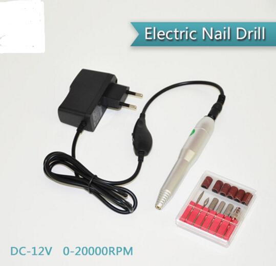 Electric Nail Drill Pen Pedicure & Manicure Polish Machine Hands & Feet Nail Care Tool Set 6 Bits Nail Nursing Kit(China (Mainland))