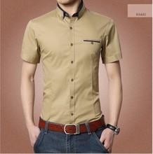 Casual brand shirt mens dress shirts slim short sleeve shirt men fashion social clothes imported clothing 8 colors homme 2015