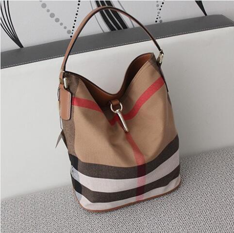 women canvas bucket shoulder bag fashion Plaid handbags Crossbody of ladies brands famous designer real leather luxury designer<br><br>Aliexpress