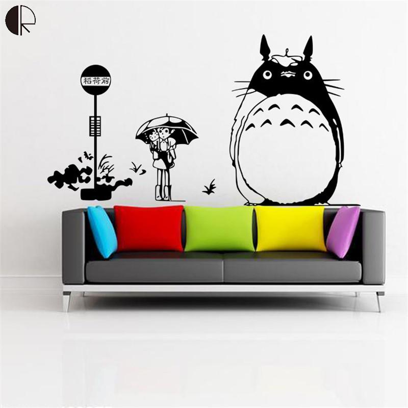 Anime Totoro Cartoon Removable Wall Sticker For Kids Room Home Decor Vinyl Sticker For Kitchen Bathroom Decal Art Poster HH1364(China (Mainland))