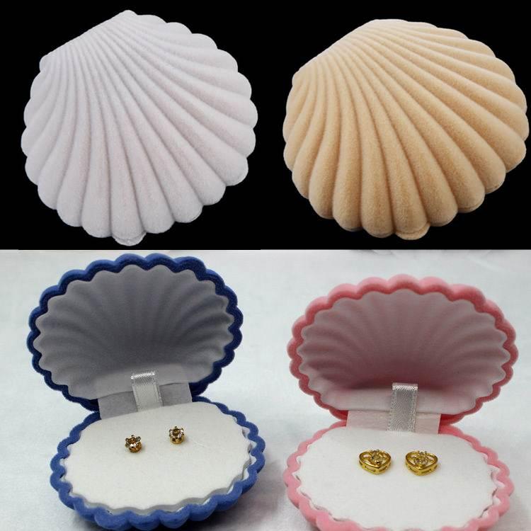 2PCS Wedding Ring Necklace Earring Box Velvet Valentine Gift Display Shell Jewellery Case 5 x 5.5cm Wholesale(China (Mainland))
