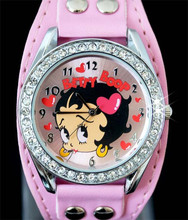 Free Shipping! 1pc New Pretty Fashion White Sexy Betty Boop Womens Ladies Girls Quartz Wristwatch Watches