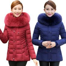 2016 New Women Slim Parka Winter Coat Female Big Fur Collar Casaco Feminino Hooded Jacket Thicken Coat Mother Clothing SS879