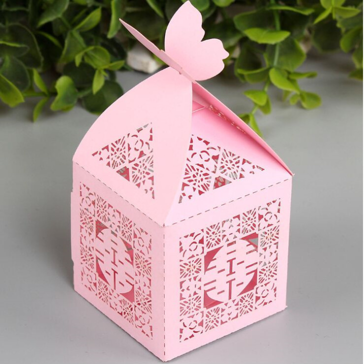 50PCS Double Happiness Candy Boxes Gift Boxes Wedding Party Favors Box white/pink Free Shipping(China (Mainland))