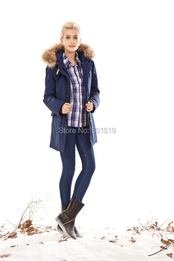 2014 women long style coat windproof waterproof parka wool rich winter warm jacket - .jackets store