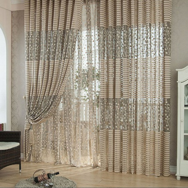 Best Price For Luxurious Drape Panel Sheer Curtain Leaf Tulle Door Window Scarfs Valances Washable(China (Mainland))