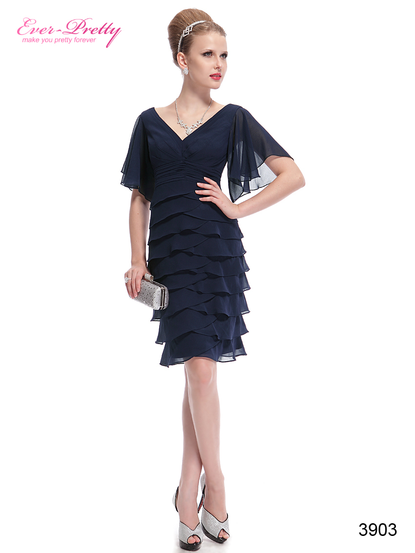 Гаджет  HE03903BL V-neck Butterfly Sleeve Ruffled Bottom Short Party Dress None Одежда и аксессуары