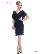 Blue Short Party Dresses Ever Pretty Double V-neck Butterfly Sleeve Sexy 2015 HE03903 Plus Size Vestido Special Occasion Dresses(China (Mainland))