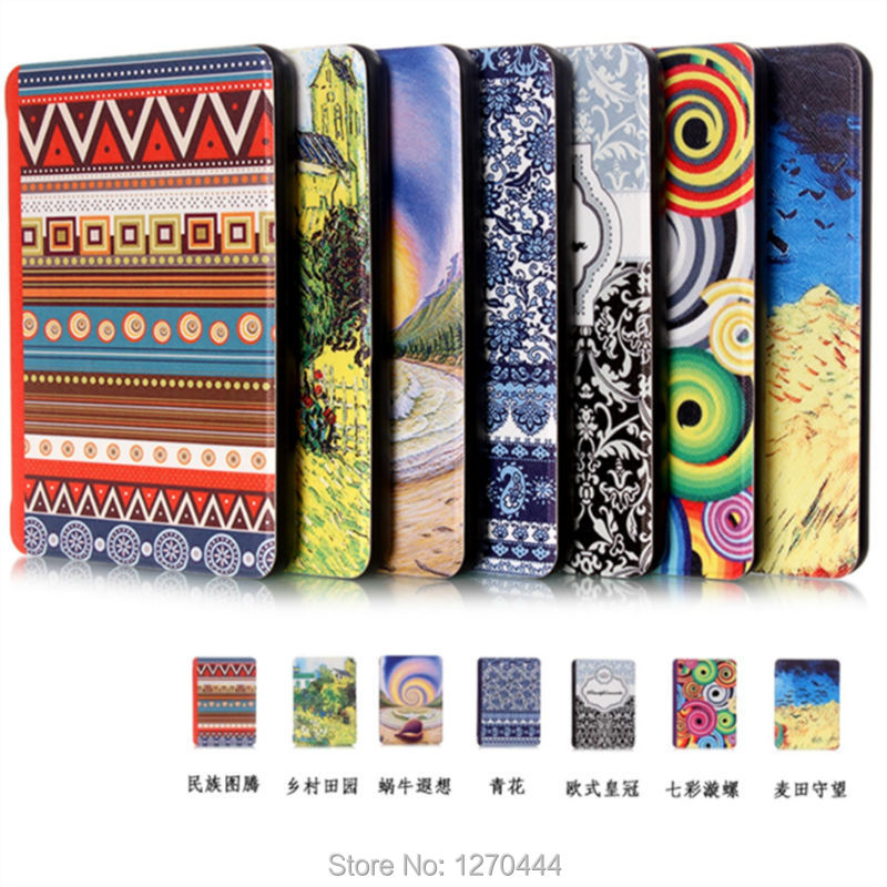 New Ultra-slim colored drawing PU Leather Case for amazon Kindle Paperwhite Protection case Smart cover +pen stylus(China (Mainland))