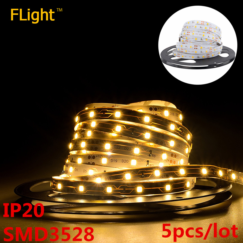 LED Strip SMD 3528 High Brightness Lamp IP20 12V 60LED/m Warm White Flexible LED Ribbon Diode Tape Christmas Lights 5pcs/lot(China (Mainland))