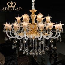 Top K9 Crystal Chandelier Gold Color Big 18 Light Luxury Hotel Lamp Indoor Hanging Lighting 8518-12+6 - Zhongshan Adinbao Co., Ltd. store