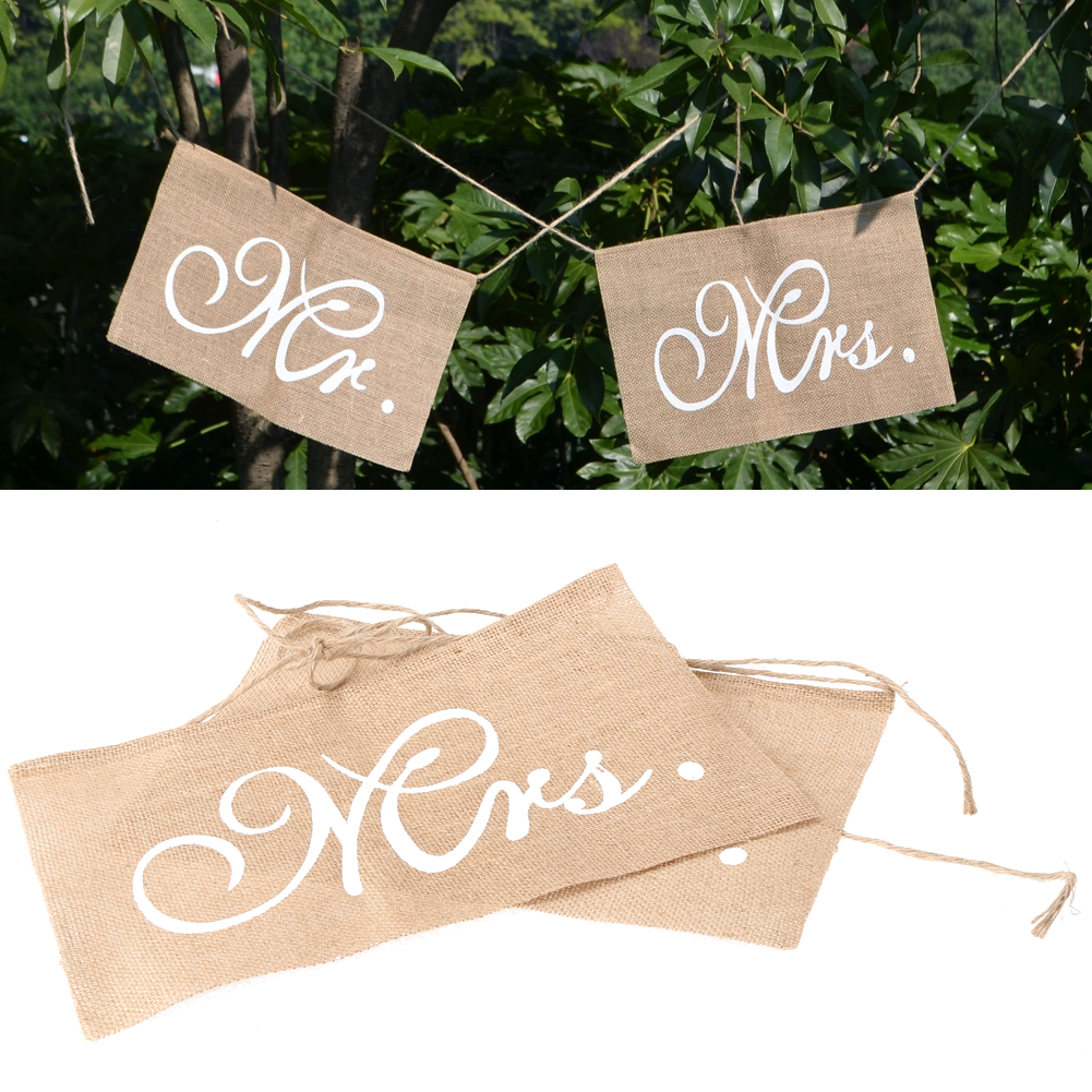 1 Set Christmas Mr Mrs Rectangular Burlap Chair Banner Set Chair Sign Garland Rustic Wedding Party Decoration 24x 36cm