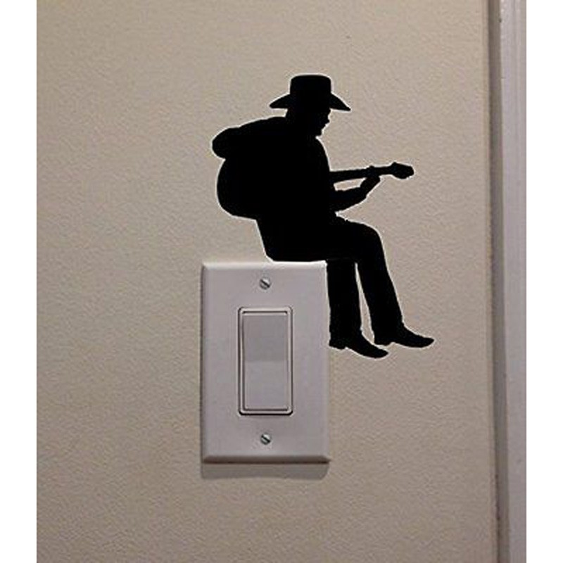 Cowboy Playing Guitar Fashion Vinyl Switch Sticker Room Home Wall Decal 5WS0087