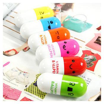 Office School Ballpoint Pens Korea Cute Stationery Ball Pen Mini Kawaii Cartoon Ballpen Telescopic Vitamin Capsule Pill Pen 1PCS(China (Mainland))
