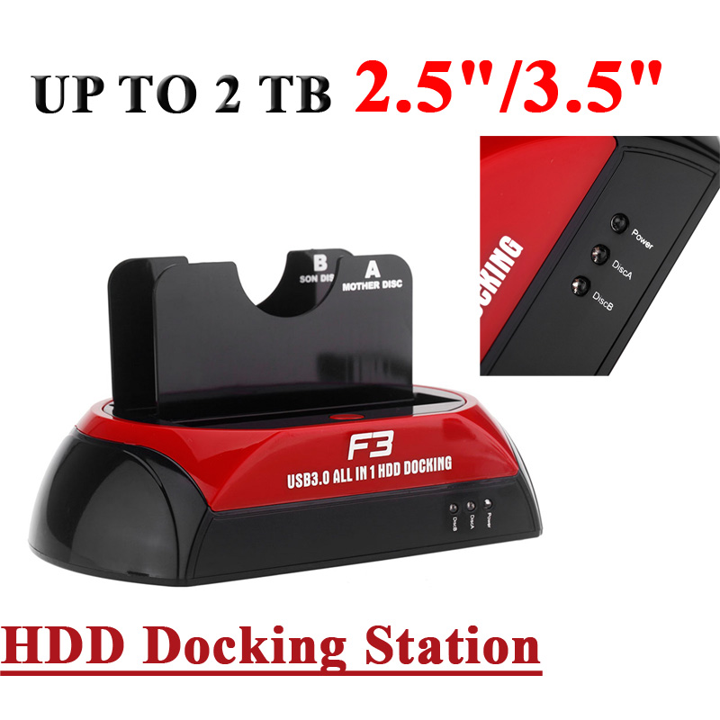 """4-in-1 2.5""""/3.5"""" 2 Dual SATA Hard Disks HDD Docking Dock Station US Plug + 12V/3A Power Adapter +Power Cable +USB Cable(China (Mainland))"""