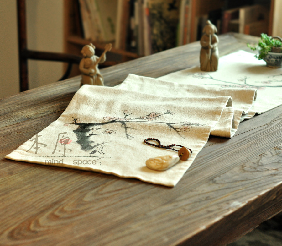 Handmade linen fabric fluid table runner table cloth placemat vintage tea(China (Mainland))