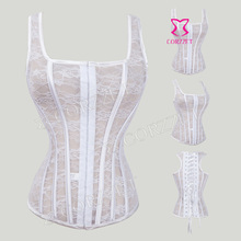 New Gothic Clothing White Lace Overbust Waist Training Corset Top Female Corpetes E Espartilhos Women Sexy Corsets And Bustiers