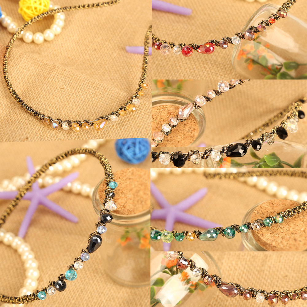 Shiny Ladies Multicolor Crystal Golden Wire Wrapped Hairbands Headband For Women HB88(China (Mainland))