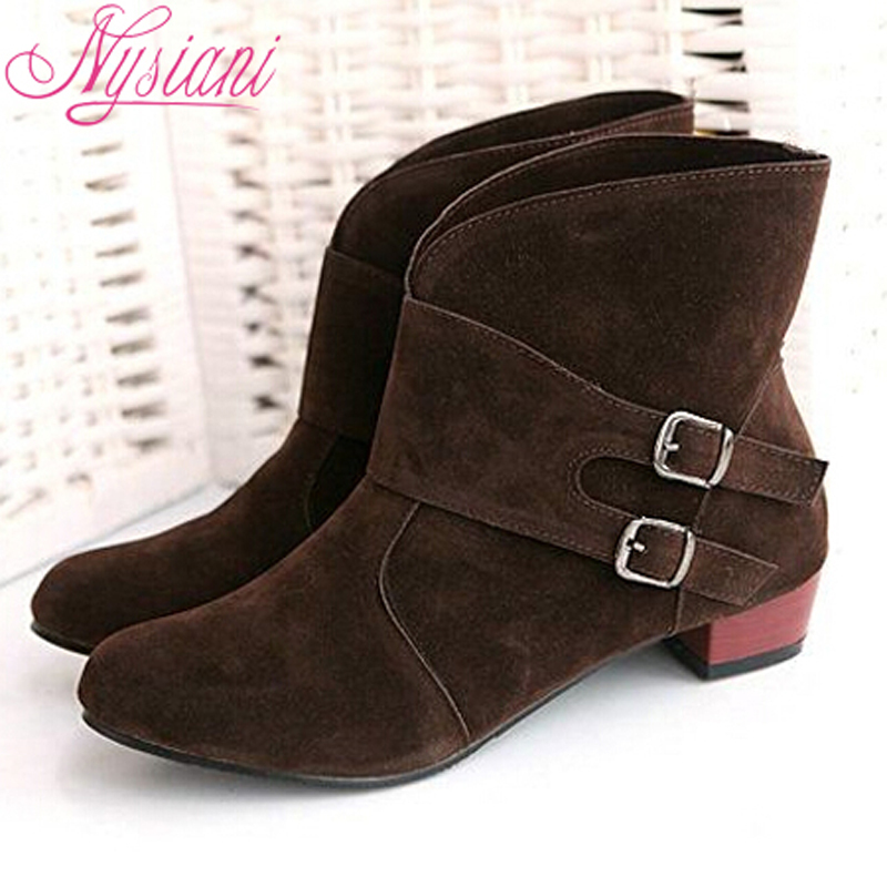 Big Size Buckle Boots For Women Design Autumn Winter Fashion Round Toe Square Heels Ankle Boots For Women 2015 Lady Boots Shoes(China (Mainland))