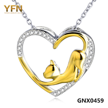 YFN New 925 Sterling Silver Necklace Cat Pendant Fashion luxurious Jewelry Gold Plated Women Heart Necklaces Collier  GNX0459(China (Mainland))