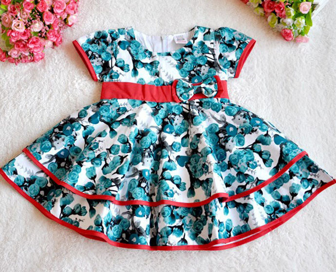 flower girl dresses baby girl summer clothes children clothing toddler girl dresses Floral bow Princess vestito vestido infantil(China (Mainland))