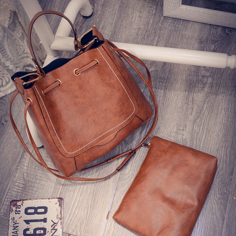 Herald Fashion PU Leather Women Composite Bag Thread Shoulder Bags String Ruched Satchels Vintage Small Solid Handbags(China (Mainland))
