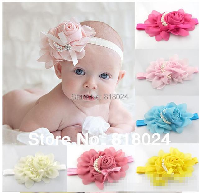 10 цвета цветок девочки Hairband детей кружево повязки с жемчугом младенца малыш для волос украшения для волос