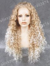 Christin Cosplay Wig Long Kinky Wig Heat Resistant Synthetic Lace Two Tone Wig
