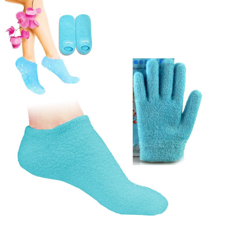 Moisturizing spa gel Pedicure gloves and silicone socks For Pedicure Skin Care Massager Mask For Feet care Baby foot and Hands(China (Mainland))