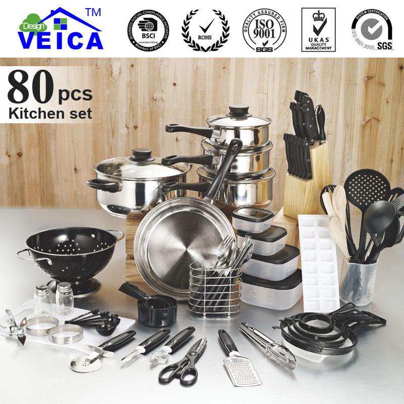 2015 New New Arrival Fda Lfgb Panelas De Ceramica Cookware Cooking Pots And Pans Set 80 Piece Kitchen Starter Set(China (Mainland))